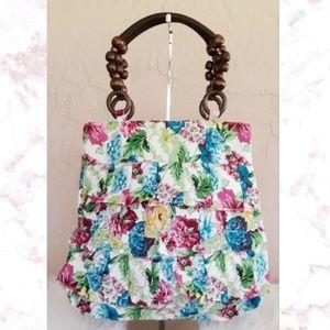 Handbags - NWOT Wood Bead Ruffle Handbag
